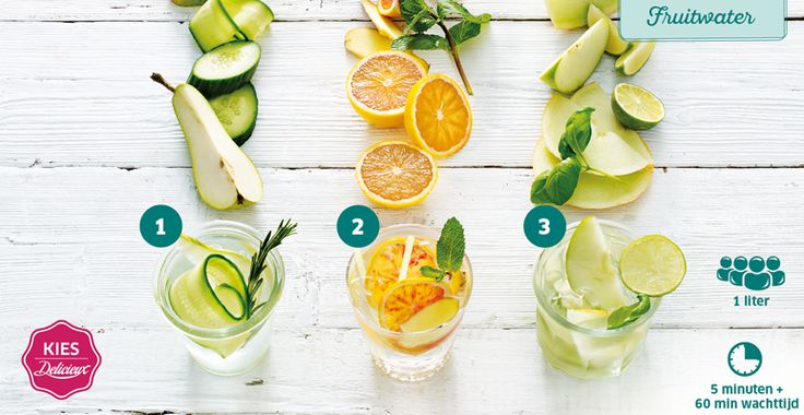 Recept voor fruitwater met komkommer, peer en rozemarijn. #Lidl #Delicieux #Fruitwater #Gezond