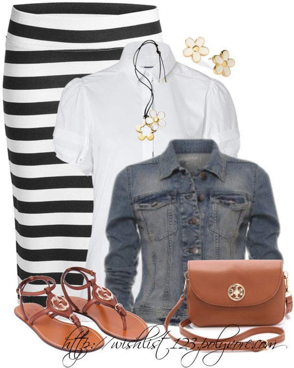 Such a cute outfit idea for spring. A striped maxi, white button up shirt, denim jacket and sandals. One of my favorite outfits to wear.