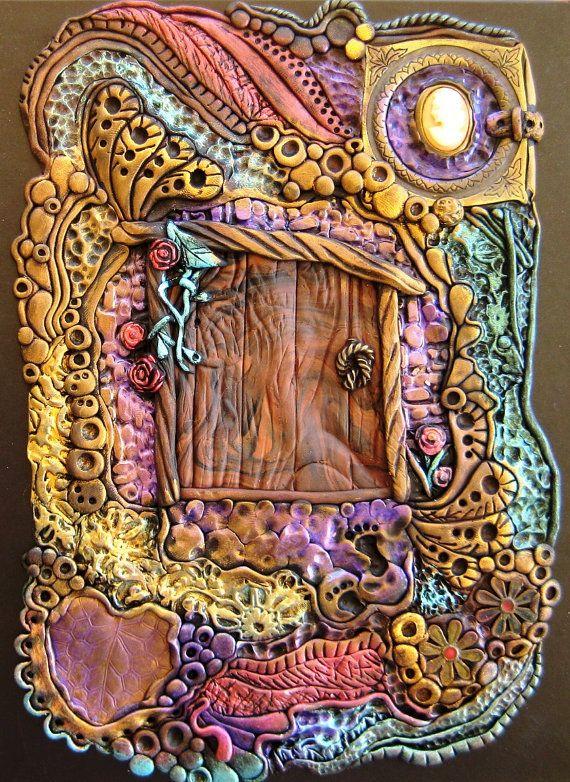 Enchanted Fairy Door Journal Spiral Notebook ... polymer clay