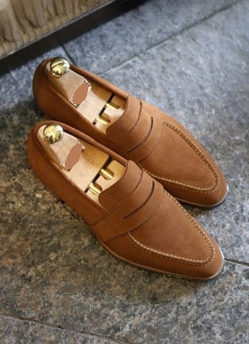 415137cbe5f4 Mens Hand Stitched Fine Style Brown Suede Pure Leather Pump Shoes ...