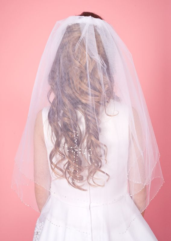 Combed Veil with Beaded Edge and Cross LA115