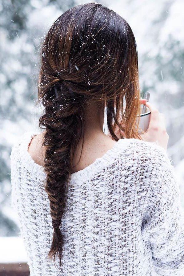 Winter Braid Hairstyle on the lovely @nelyakhryukin who is wearing her Chestnut Brown #LuxyHairExtensions