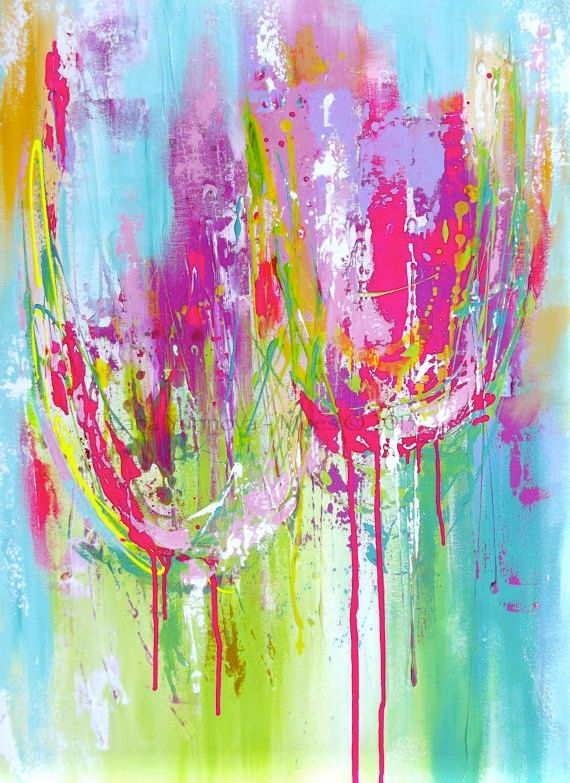 """Abstract Teal, Aqua, Pink Tulips Original Painting Modern Decor Painting Impasto Texture 24"""" by 36"""""""