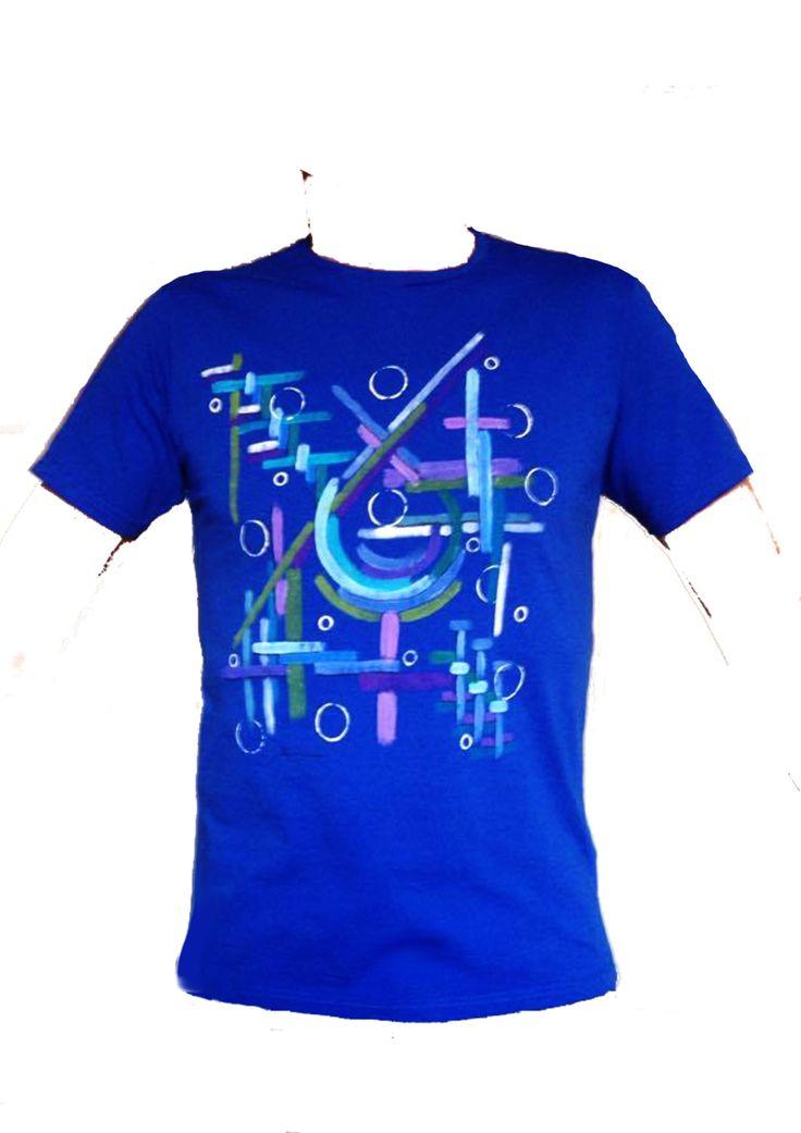 T-shirt bluette dipinta a mano di SACROSANCTA su Etsy
