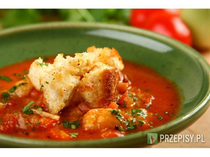Pieczywo porwij na mniejsze kawałki i zumień w piekarniku Do rondla wlejy oliwę, wrzuć rozgniecio...