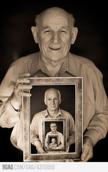 A picture worth a lifetime. What an amazing Idea, also could work, showing generations and going backwards, with a little kid holding a picture of his dad and so on.This is a beautiful idea-love it!