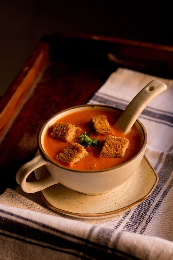 tomato soup for the winters. creamy and restaurant style tomato soup step by step recipe.  #tomatosoup