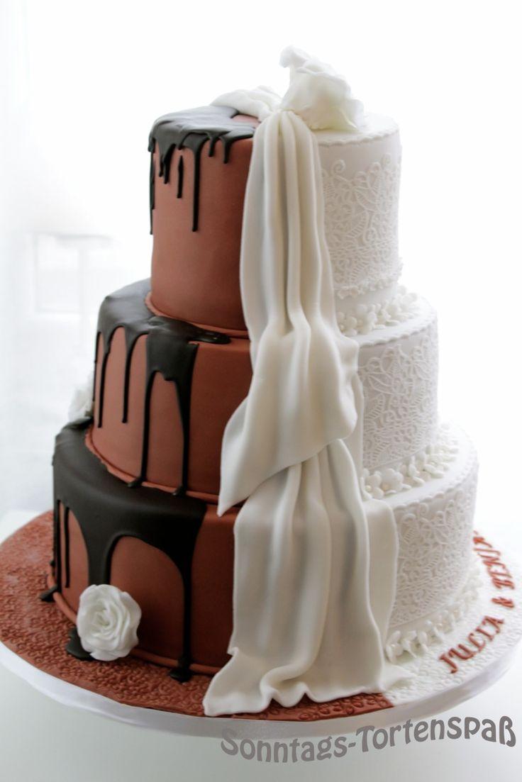Es ist zur Zeit eine der beliebtesten Hochzeitstorten.  Zwei Klassiker zusammen geführt.        Schritt für Schritt entstand aus drei Etag...