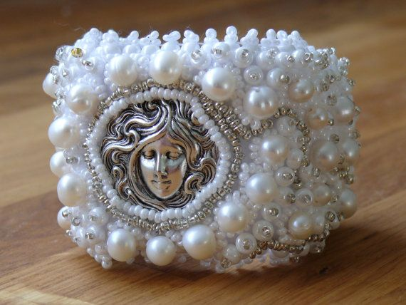 Bead Embroidered Bracelet Bridal Cuff Perfect WHITE by MaewaDesign