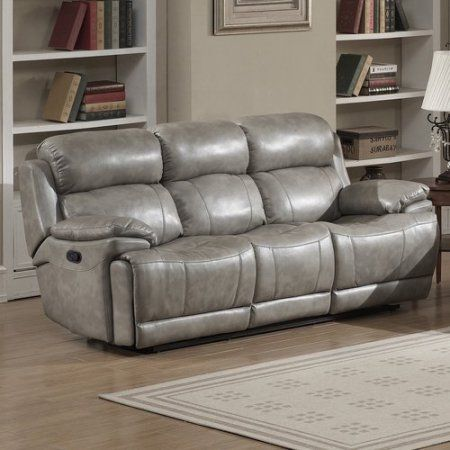Used Ac Pacific Estella Grey Leather Infused Fabric Transitional Reclining Sofa