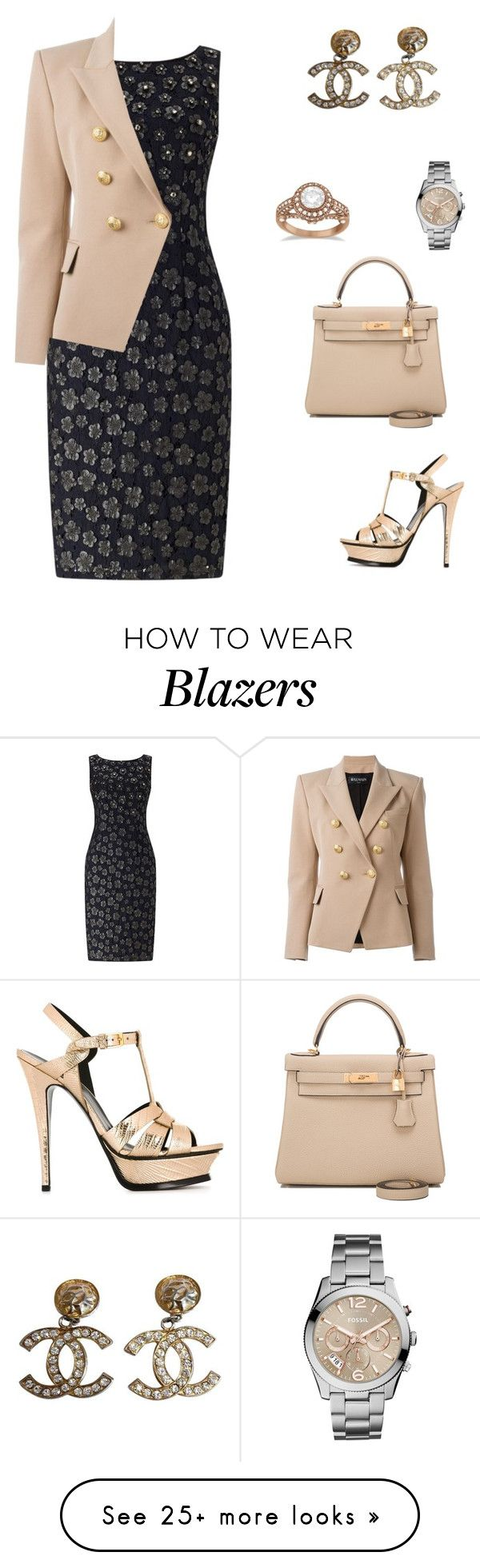 """""""Untitled #2054"""" by bushphawan on Polyvore featuring Adrianna Papell, Balmain, Allurez, Chanel, FOSSIL, Yves Saint Laurent and Hermès"""