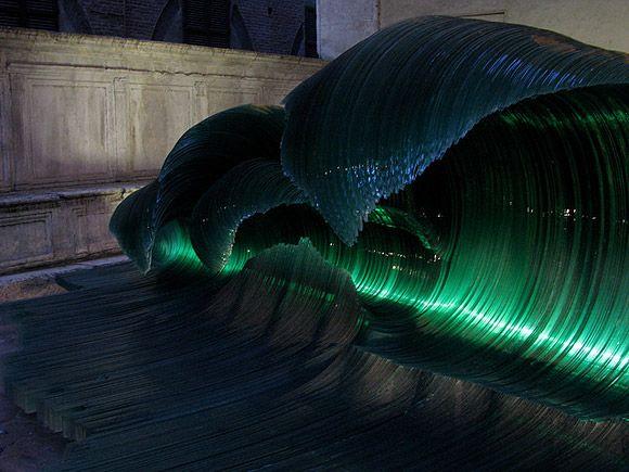 Glass wave sculpture by Mario Ceroli