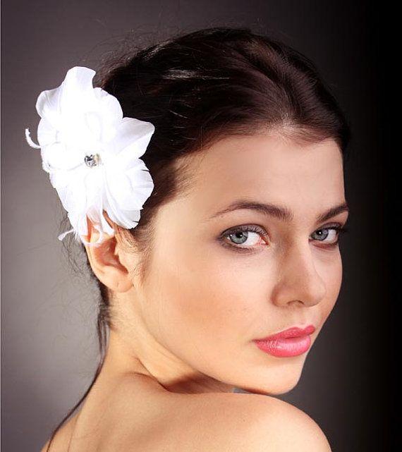 Bridal Hair Accessory FeatherWhiteHair Clip by KasiaGirtler, $39.00
