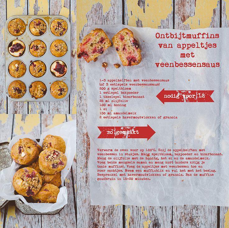 muffins met appel en veenbessen
