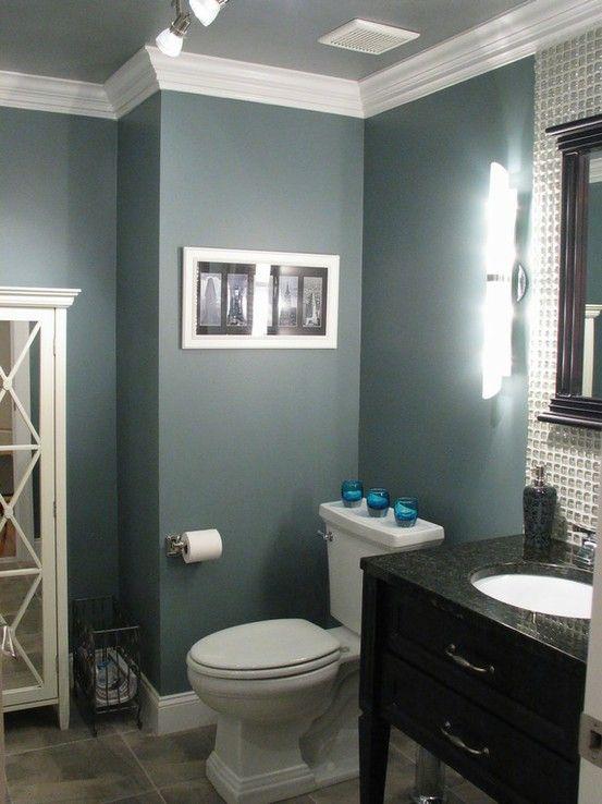 wall color bathroomWall Colors, Smokestack Gray, Bathroom Colors, Bedrooms Colors, Paint Colors, Master Bath, Painting Colors, Benjamin Moore, Crowns Moldings