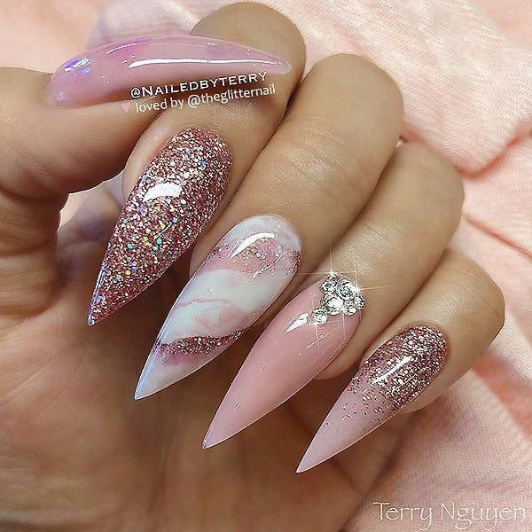 Pastel Pink Marble Glitter And Crystals On Long Stiletto Nails Nail Artist Pastel Pink Marble Glitt In 2020 Nail Art Wedding Stiletto Nail Art Bridal Nails