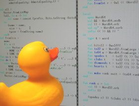 """""""Rubber Duck Debugging"""". Rubber duck debugging is an informal term used in software engineering for a method of debugging code. The name is a reference to a story in the book The Pragmatic Programmer in which a programmer would carry around a rubber duck and debug their code by forcing themselves to explain it, line-by-line, to the duck."""