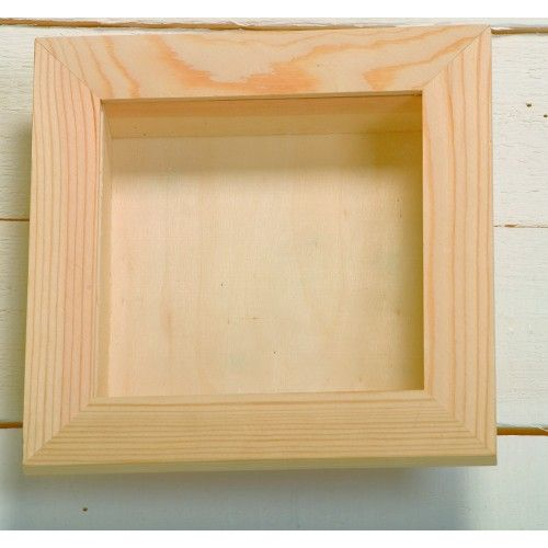 large square wooden 3 d deep shadow box frame with removable perspex 15 x 15