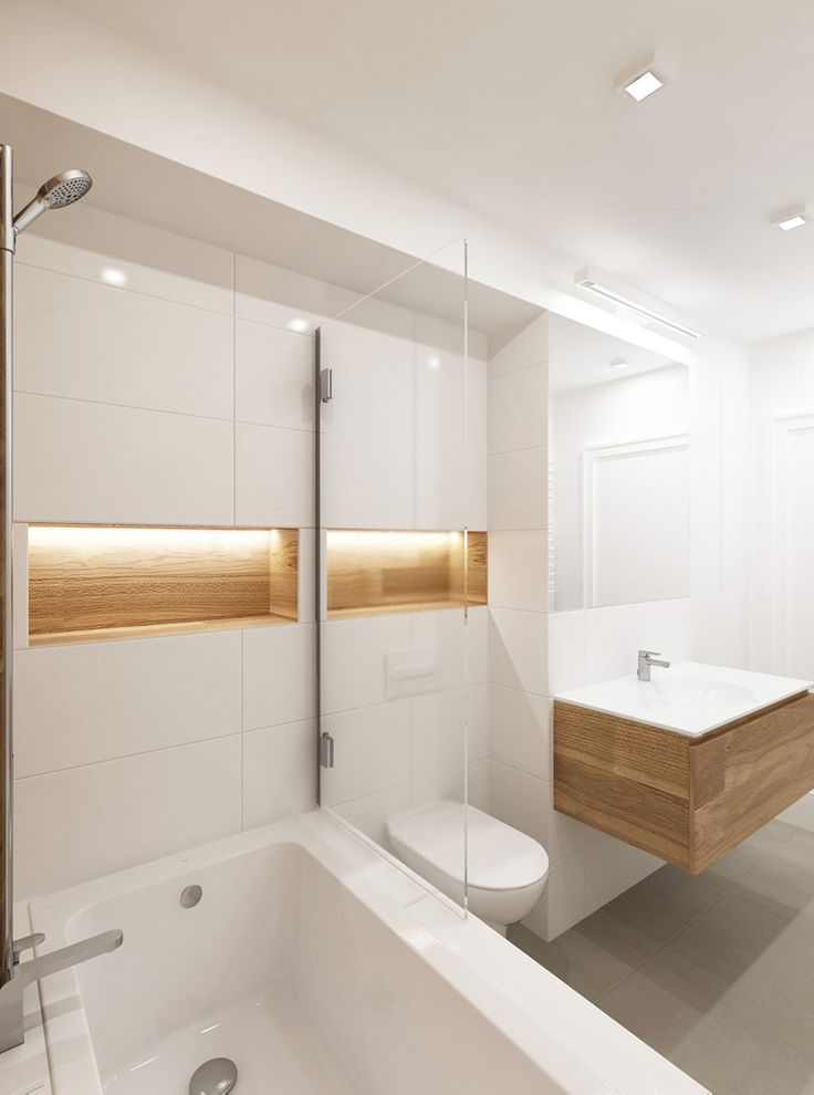 Bathroom white with wood