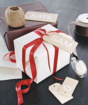 Name spelled out in large letters for gift tags