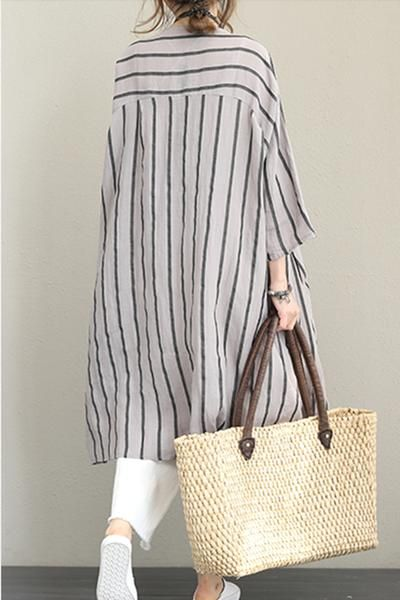 Loose Striped Linen Shirt Dresses Women Casual Clothes Q1221