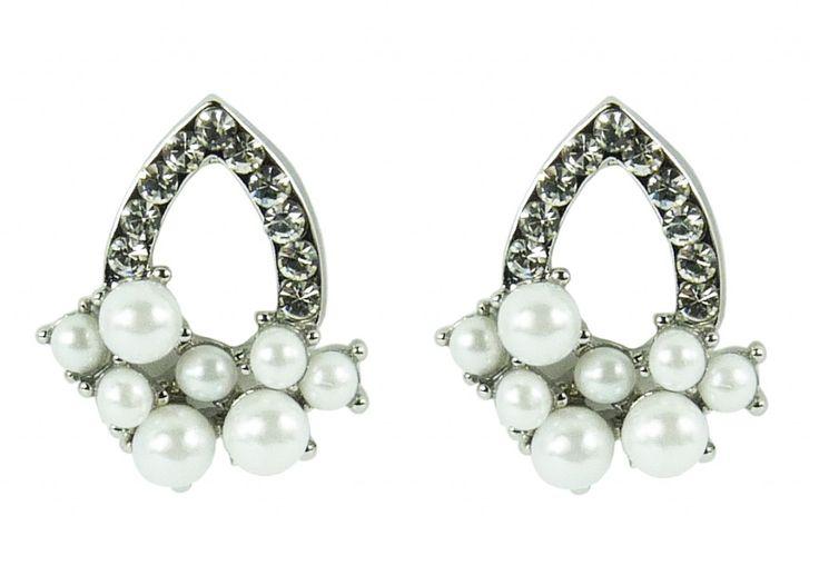 Náušnice štrasové s perličkami 32814 | Bižuterie Kozák