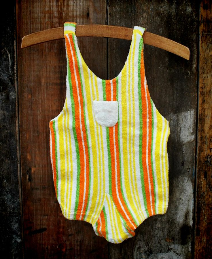 1960's Striped toweling bathing suit approx. age 0-6 months. £12