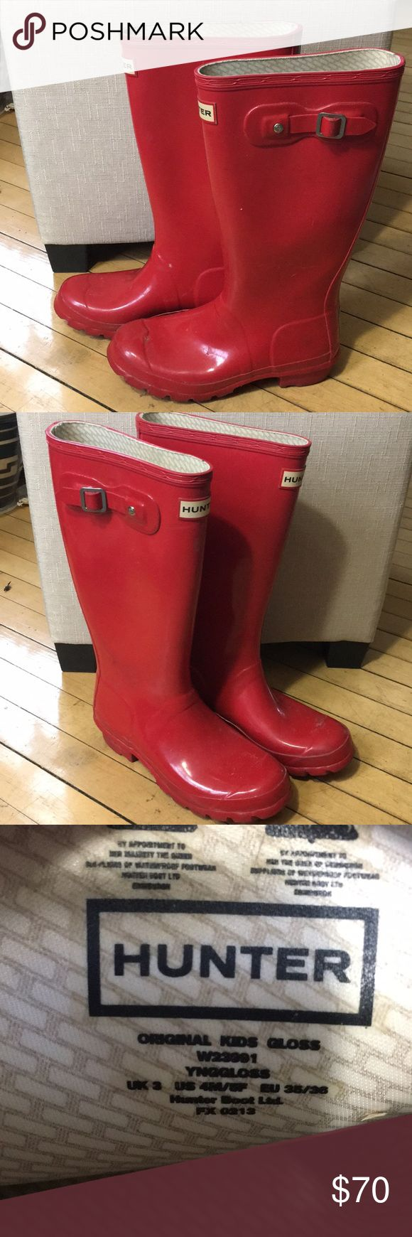 "Red Hunter Boots Red hunter boots   Kids size 4M/5F  I typically wear women's size 5 and these fit me perfectly.  Worn but in good condition.  I'm 5'2"" and these come up to just above mid calf.   Have a few pairs so I'm getting rid of these.   Let me know your best offer Hunter Boots Shoes Winter & Rain Boots"