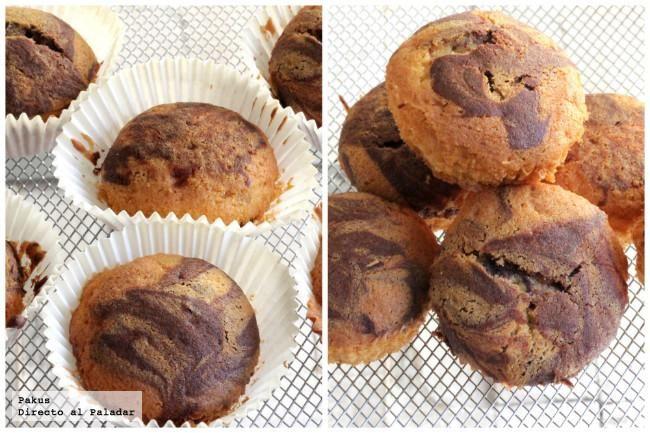 Receta de magdalenas mármol de vainilla y chocolate. Original receta para desayuno y merienda con las fotos paso a paso de su elaboración y sugerencia de uso