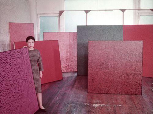 Yayoi Kusama in her New York studio, 1960.: