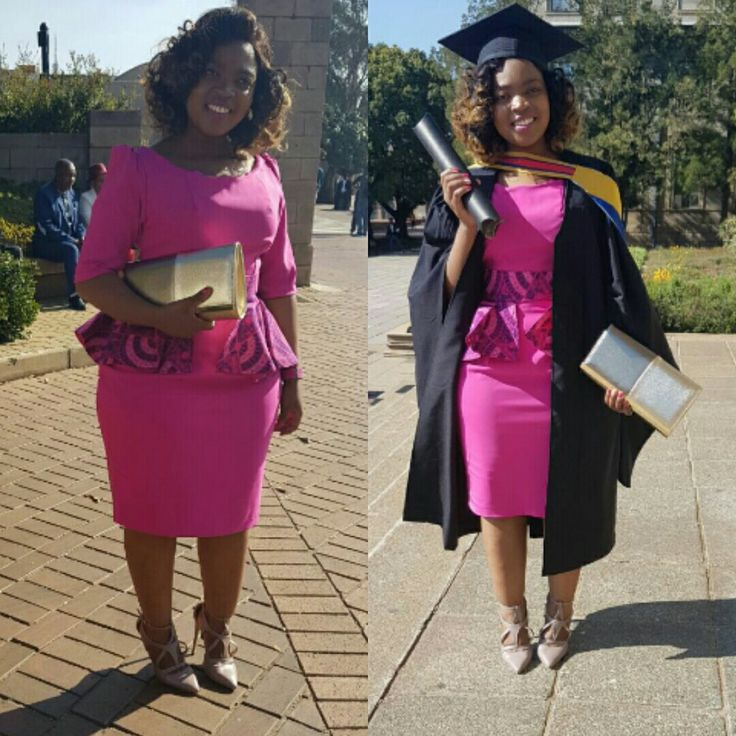 Pink dress with shweshwe peplum