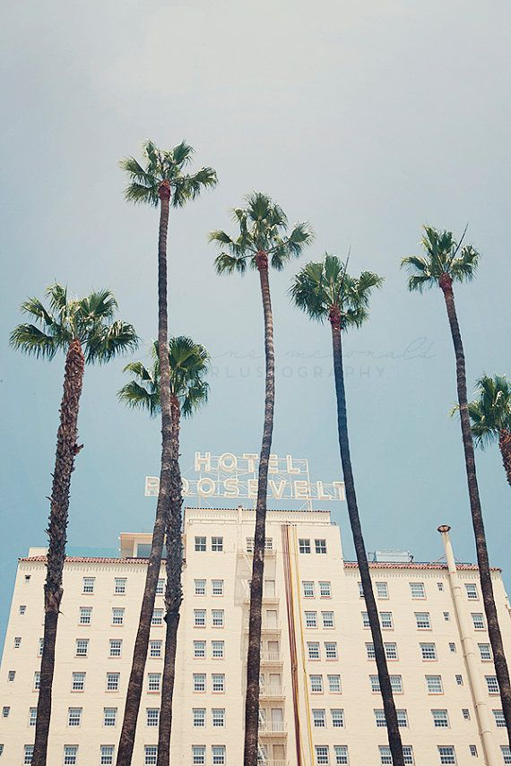 TITLE: The Roosevelt Hotel DESCRIPTION: Iconic Hollywood Hotel framed against L.A.s iconic palm trees. Los Angeles, California.  *Printed