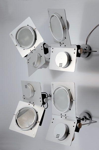 Elio Martinelli; Aluminum 'ZHSP' Wall Lights for Martinelli Luce, 1980.