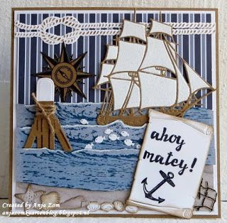 Handmade card by DT member Anja with Creatables Tiny's Tall Ship (LR0416), Ropes (LR0418), Scroll (LR0419), Craftables Tiny's Ocean Set (CR1279), Punch Die - Sea Shells (CR1363), Punch Die - Fish (CR1364) and Clear Stamp Tiny's Fishnet (TC0839) from Marianne Design