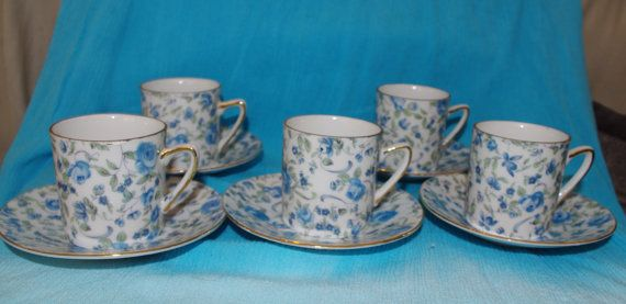 Demitasse Cup and Saucer Sets of Paisley Royal Crown Blue by 2BEB, $40.00