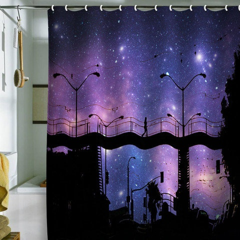 Galaxy shower curtain space theme pinterest for Space themed curtains