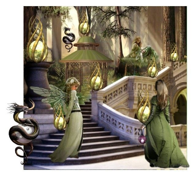 In the Realm of the Elf Queen by fractallicious on Polyvore featuring art