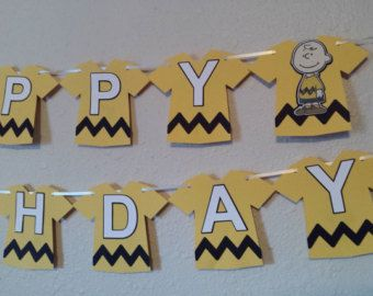 Charlie Brown Inspired Birthday Banner by SeacliffeCottage on Etsy