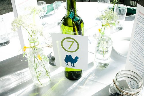 Non floral centerpieces 2 0 graphics jars and flower for Wedding table decorations with wine bottles