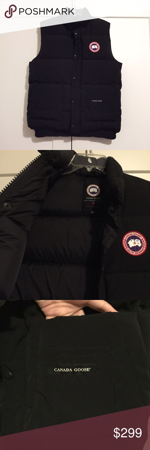 Men's Canada Goose Arctic Freestyle Down Vest Super high quality Canada Goose down vest, worn 2 times, perfect for these colder months coming up. Very warm; filled with white duck feather. Two fleece lined hand warmer pockets, two large drop in pockets and two smaller ones. I believe that Canada Goose has a lifetime warranty for repairs or replacement. Size medium. Awesome piece you'll have forever. No trades or PP/M. Canada Goose Jackets & Coats Vests