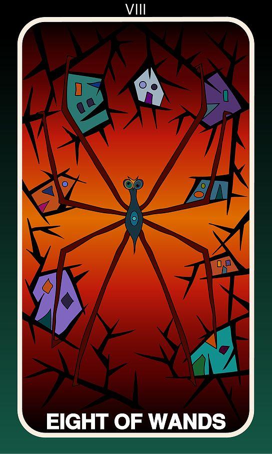 Tarot Card, Eight of Wands  #wands #witch #gothic #illustration #tarotdeck #children #tales #city #adventure #magic