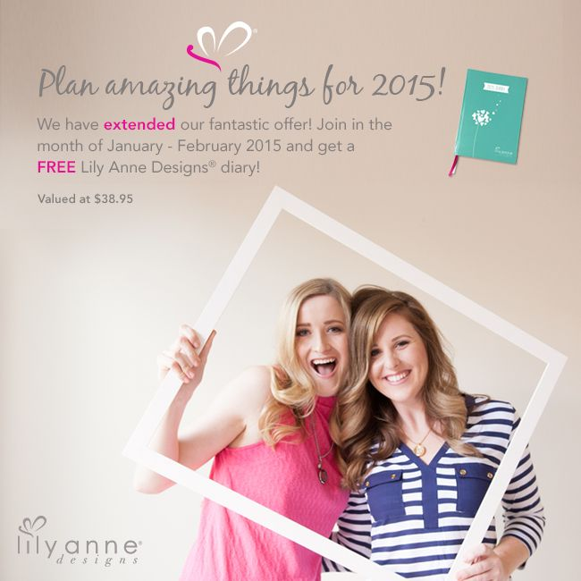 Plan amazing things for 2015!  We have extended our fantastic offer! Join in the month of January - February 2015 and get a FREE Lily Anne Designs diary! Valued at $38.95  http://www.lilyannedesigns.com.au/join-our-team/registration/  #LilyAnneDesigns #Diary #DesignConsultant #PersonalisedLockets #SocialSelling #PartyPlan