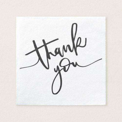 Thank You Handwritten Text Paper Napkin