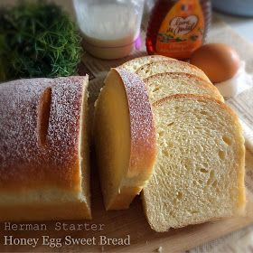 A soft loaf of sweet bread, which carries the sweet aroma of the honey used. Herman Starter was used as the main leavening agent in ...