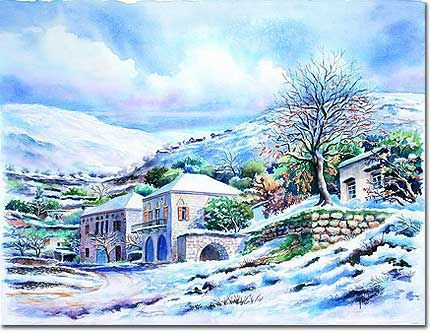Art print paintings reproductions, frame pictures, Lebanese mountains in snow