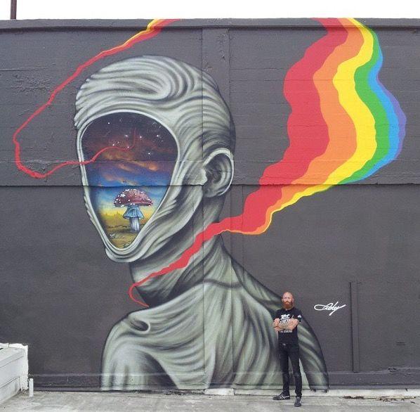 Ernest Doty works on a new mural in Oakland California.  sc 1 st  Pinterest & 302 best Street Art and Murals::: images on Pinterest | Urban art ...