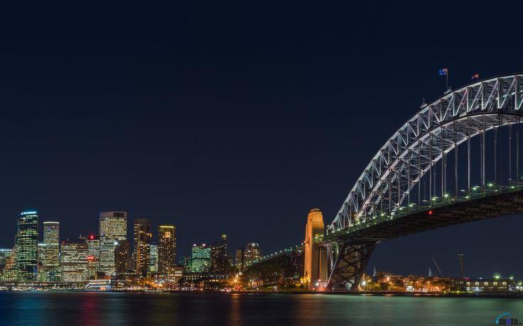 Обои для рабочего стола Мост Харбор-Бридж ночью, Сидней, Австралия