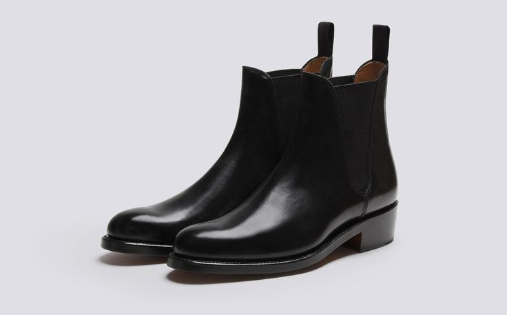 Grenson Shoes & Accessories | Nora Womens Chelsea Boot in Black Colorado Leather on a Leather Sole - Three Quarter View