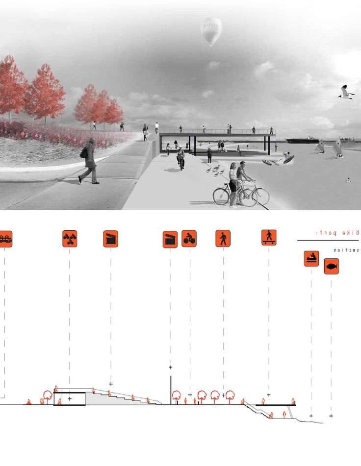 Rendering of beach boardwalk/pier design. Thought to be created from photo layering in Photoshop, and InDesign.