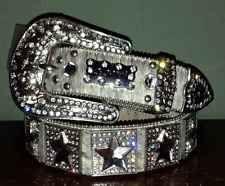 BHW Western Hair On Hide Leather Star Concho Cowgirl Belt Medium Bling Crystal